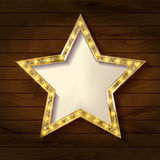 Gold star on wooden background. Vector illustration in vintage style Stock Photos