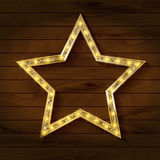 Gold star on wooden background. Vector illustration in vintage style Royalty Free Stock Photos