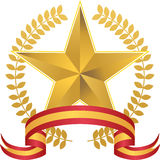 Gold Star with Wreath Royalty Free Stock Image