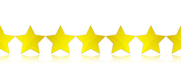 Gold stars. Gold  stars in a line, reflection Stock Photos