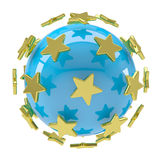 Gold stars around the blue ball Stock Photography