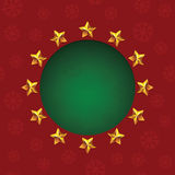 Gold stars around green text hole. Vector Christmas greeting card Stock Photos
