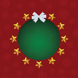 Gold stars around green text hole. White bow. Vector Christmas greeting card Stock Photo