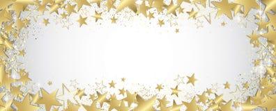Gold stars banner. Gold stars and glitter full  banner Royalty Free Stock Photo