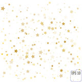 Gold stars. Confetti celebration, Falling golden abstract decora Royalty Free Stock Image