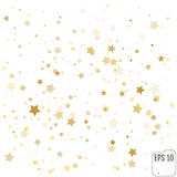 Gold stars. Confetti celebration, Falling golden abstract decora Royalty Free Stock Photos
