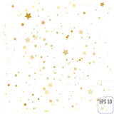 Gold stars. Confetti celebration, Falling golden abstract decora Stock Image