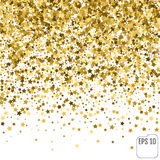 Gold stars. Confetti celebration, Falling golden abstract decora. Tion for party, birthday celebrate, anniversary or event, festive Stock Photos