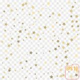 Gold stars. Confetti celebration, Falling golden abstract decora Stock Images