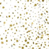 Gold stars. Confetti celebration, Falling golden abstract decora. Tion for party, birthday celebrate, anniversary or event, festive. Festival decor. Soft colors Stock Photo