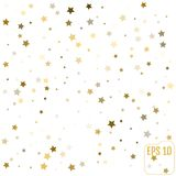 Gold stars. Confetti celebration, Falling golden abstract decora Royalty Free Stock Photography