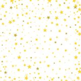 Gold stars confetti scatter shiny seamless pattern abstract back vector illustration
