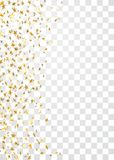 Gold stars falling confetti frame isolated on transparent background. Golden abstract pattern Christmas, New Year. Holiday celebration, festive, party. Glitter Royalty Free Stock Photo