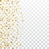 Gold stars falling confetti frame isolated on transparent background. Golden abstract pattern Christmas, New Year. Holiday celebration, festive, party. Glitter Royalty Free Stock Image
