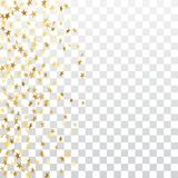 Gold stars falling confetti frame isolated on transparent background. Golden abstract pattern Christmas, New Year. Holiday celebration, festive, party. Glitter Royalty Free Stock Photography