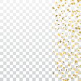 Gold stars falling confetti frame isolated on transparent background. Golden abstract pattern Christmas, New Year. Holiday celebration, festive, party. Glitter royalty free illustration