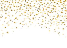 Gold stars falling confetti isolated on white background. Golden abstract random pattern Christmas card, New Year. Holiday. Shiny confetti paper stars. Glitter vector illustration