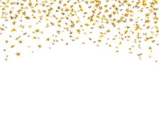 Gold stars falling confetti  on white background. Golden abstract rain confetti. Decoration sparkle explosion. Festive, celebration party. Holiday design stars Stock Photo