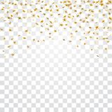 Gold stars falling confetti  on white transparent background. Golden abstract confetti. Decoration sparkle. Explosion festive, celebration party. Holiday stars Royalty Free Stock Images
