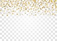 Gold stars falling confetti  on white transparent background. Golden design festive party, birthday celebration. Carnival, anniversary. Stars confetti Royalty Free Stock Photos