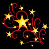 Gold Stars Feuerwerke auf Schwarzem lizenzfreie abbildung