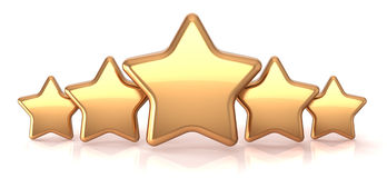Gold stars five golden star service award. Business success decoration abstract. Best top quality rating excellent favorite favorite winner concept. Detailed 3d royalty free illustration