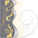 Gold stars and floral pattern Royalty Free Stock Image