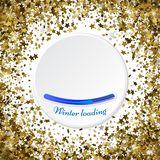 Gold stars glitter confetti round frame. shining sparkles circle. Border pattern on white with golden sky objects, star dust. Winter loading. Vector Royalty Free Stock Photo
