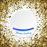 Gold stars glitter confetti round frame. shining sparkles circle. Border pattern on white with golden sky objects, star dust. Winter loading. Vector Royalty Free Stock Photography