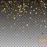 Gold stars Holiday background, Falling golden shining star on tr. Ansparent background. Vector Stock Image