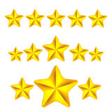 Gold stars icons on white background vector illustration.  Royalty Free Stock Photo
