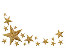 Gold Stars isolated on white. Background with room for your text Royalty Free Stock Image