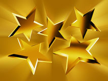 Gold stars in the rays Royalty Free Stock Photo