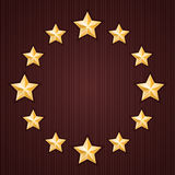 Gold stars on red textured background Royalty Free Stock Photography