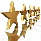 Gold stars with reflection Stock Photography