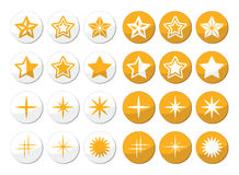 Gold stars  round icons set Royalty Free Stock Images