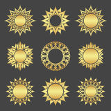 Gold stars. Set of abstract gold stars. Decoration Stock Image