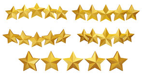 5 gold stars. A set of stars, useful graphic to use on websites Royalty Free Stock Photos