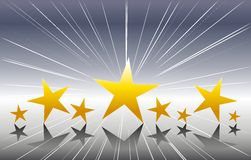 Gold Stars on Silver Background. A background illustration featuring a row of gold stars set against silver background Stock Images