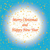 Gold stars with text on blue background Christmas card.  Royalty Free Stock Images