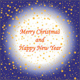 Gold stars with text on blue background Christmas card.  Royalty Free Stock Photography