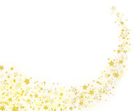 Gold stars trail on white background. Sparkling shiny stars and pixie dust on white. Happy Holidays 2017 Christmas card concept. Beautiful trendy colors for Stock Image