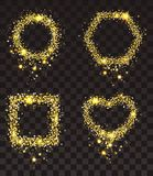 Gold stars on transparent background. Set of frame of gold stars rectangle, heart shape, circle, hexagon Royalty Free Stock Images