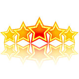 5 gold stars. Vector art illustration of the brand Stock Images
