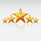 5 Gold stars. Royalty Free Stock Photo