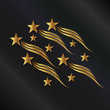 Gold stars waves Royalty Free Stock Image