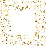 Gold stars on a white background. Vector IIlustration. Golden st. Ars on a white square background. Template for holiday designs, invitation, party, birthday Stock Photo