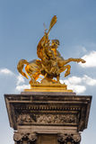 Gold state of winged horse, Paris. Royalty Free Stock Image