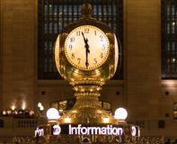 Gold Station Clock at 11:30 Royalty Free Stock Photography
