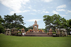 Gold statue of Brahma is located in the park. Royalty Free Stock Photo
